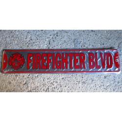plaque de rue firefighter pompier tole alu strié pub caserne