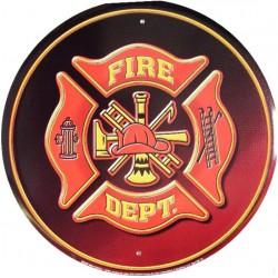 plaque pompier fire dept ronde rouge logo americain tole usa