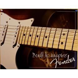 plaque fender built to inspire guitare tole deco affiche usa