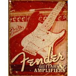 plaque fender guitars & ampli tole rouge  affiche deco usa