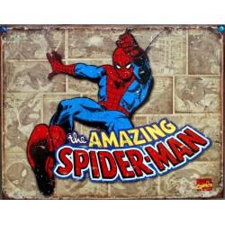 plaque super hero spiderman amazing sur fond beige affiche