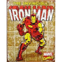 plaque super hero iron man sur fond marron tole affiche usa