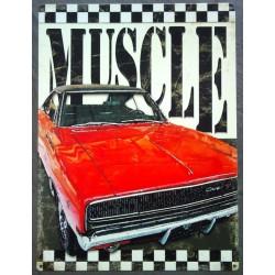 plaque muscle dodge charger rouge tole deco garage usa loft