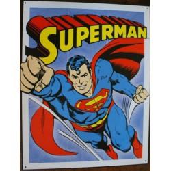 plaque super hero superman en plein vol affiche tole usa