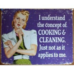 plaque humour cooking and cleaning tole pin up style rétro