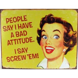 plaque humour pin up bad attitude tole deco humour femme usa
