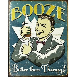 plaque humour booze better than therapy tole pub usa affiche