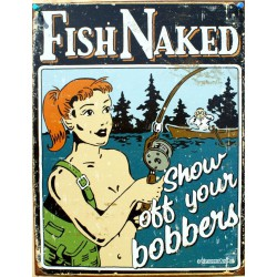 plaque humour fish naked peche nu tole deco humour usa