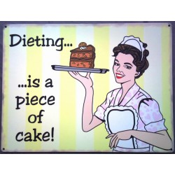 plaque dieting is a piece of cake tole deco humour affiche