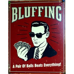 plaque bluffing poker tole deco humour afffiche usa metal