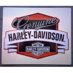 plaque Harley Davidson genuine blanche tole deco garage us