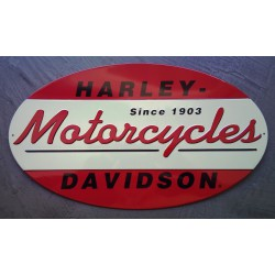 plaque Harley Davidson motorcycles ovale rouge blanc tole us