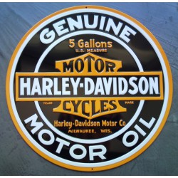 plaque Harley Davidson genuine motor oil ronde tole deco usa