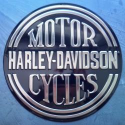 plaque Harley Davidson motor cycle noir ronde tole garage