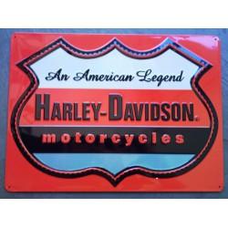 plaque Harley Davidson an american legend logo orange usa