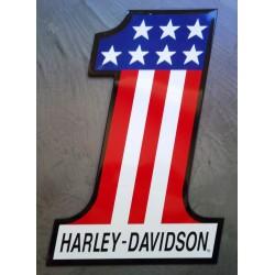 plaque Harley Davidson drapeau usa 1 tole biker deco bar