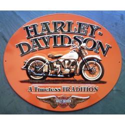 plaque Harley Davidson timeless tradition tole ovale orange