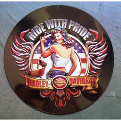 plaque Harley Davidson ride with pride tole ronde pin up hd