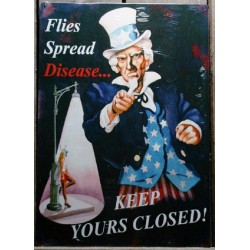 plaque oncle sam  , keep your closed avec pin up  tole rare