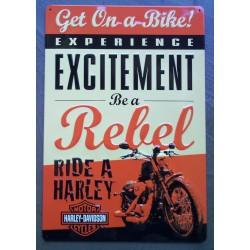plaque Harley Davidson be a rebel exitement tole affiche usa