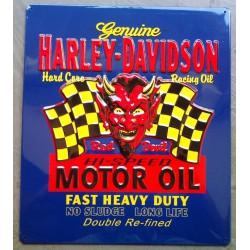 plaque Harley Davidson diable motor oil devil sign tole usa
