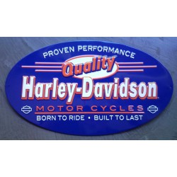 plaque Harley Davidson quality ovale bleu tole deco garage