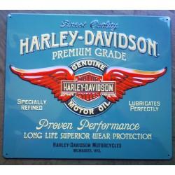 plaque Harley Davidson premium grade bleu clair tole biker