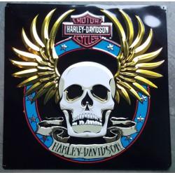 plaque Harley Davidson crane ailé aille doré tole biker usa