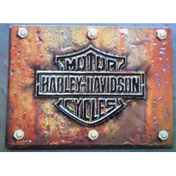 plaque Harley Davidson logo bar shield rouillé tole affiche