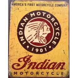 plaque indian logo jaune vieillit avec tete indien affiche