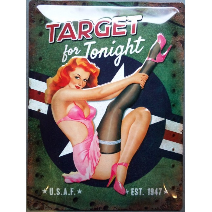 plaque pin up bombardier target for tonight affiche tole pub