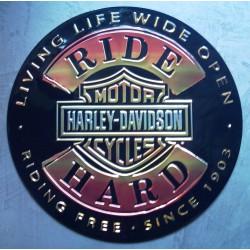 plaque Harley Davidson ride hard ronde tole deco garage loft