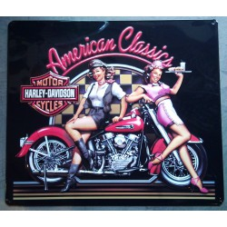 plaque Harley Davidson american classic pin up et moto usa