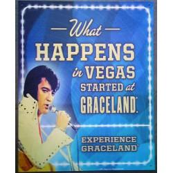 plaque elvis presley vegas started in graceland tole affiche