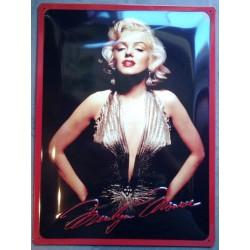 plaque marilyn monroe robe doré tole noir deco affiche metal