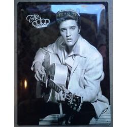 plaque elvis presley , the king avec une guitare tole bombée