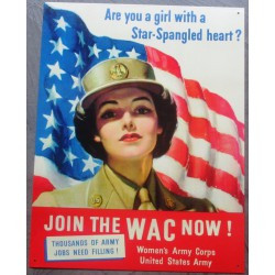 plaque join the wac pin up militaire affiche tole deco usa