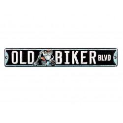 plaque rue old biker blvd découpé et en relief tole deco usa