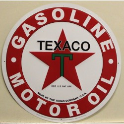 plaque texaco motor oil 60cm gasoline tole blanche garage