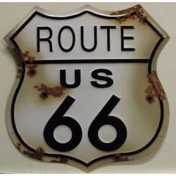 plaque route 66 blason viellit 60cm tole deco diner usa loft