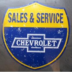 plaque chevrolet sales & service 60cm tole deco garage