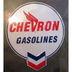plaque chevron gasolines 52x44cm tole deco garage usa