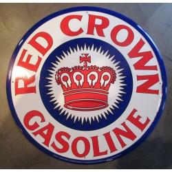 plaque red crown  gasolin 60cm tole deco bar diner garage us