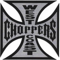 sticker west coast choppers 8cm croix de malte biker usa