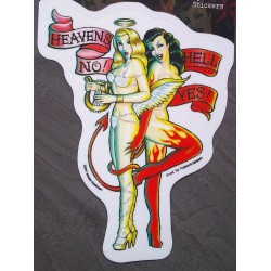 sticker pinup ange diablesse heaven no hell yeah autocollant