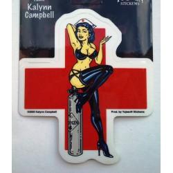 sticker infirmiere brune sexy et croix rouge autocollant