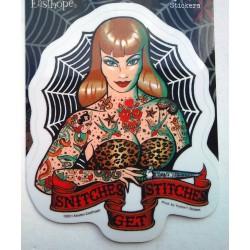 sticker pin up rousse tatoué et toile d'araignée autocollant