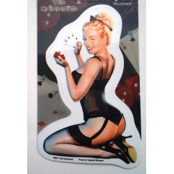 sticker pin up blonde dé et jeux carte lady luck autocollant