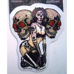sticker pin up  tattoo et 2 cranes muerte autocollant rock