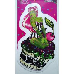 sticker pin up verte tatoué cupcake autocollant rockabilly